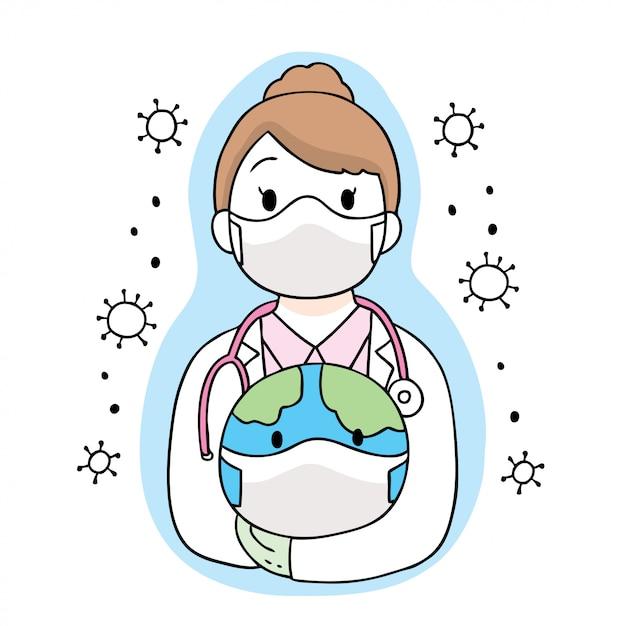 Cartoon Cute Coronavirus, Covid-19, Doktor Bezpieczny świat Premium Wektorów