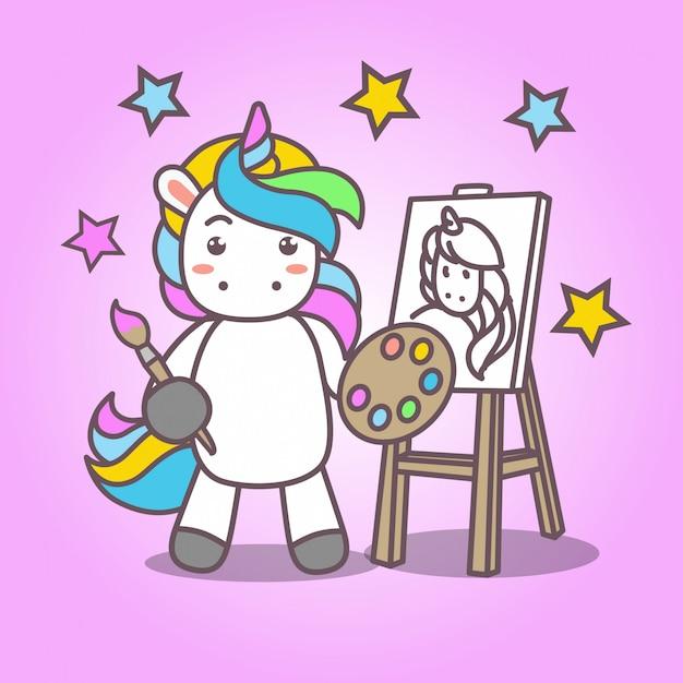 Cartoon_cute Kawaii Unicorn Painting Premium Wektorów