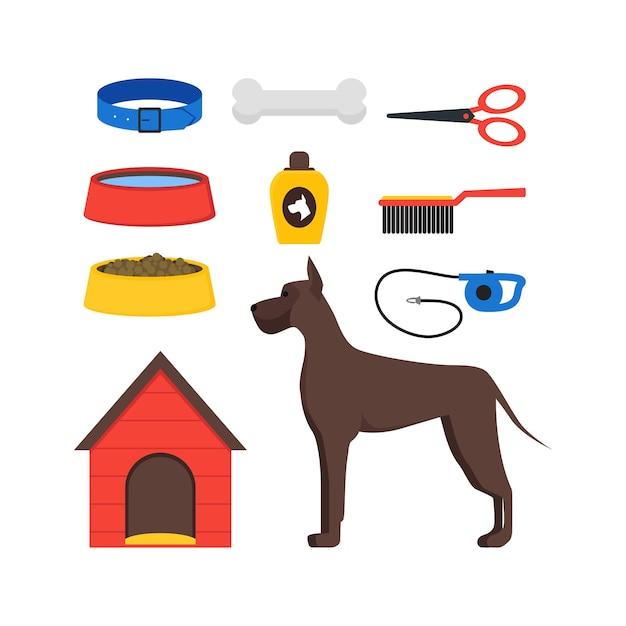 Cartoon Dog Equipment Set House Pets Akcesoria I Jedzenie Premium Wektorów