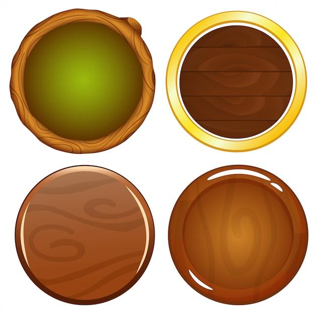 Cartoon Drewniane Okrągłe Ikony Gier Premium Wektorów