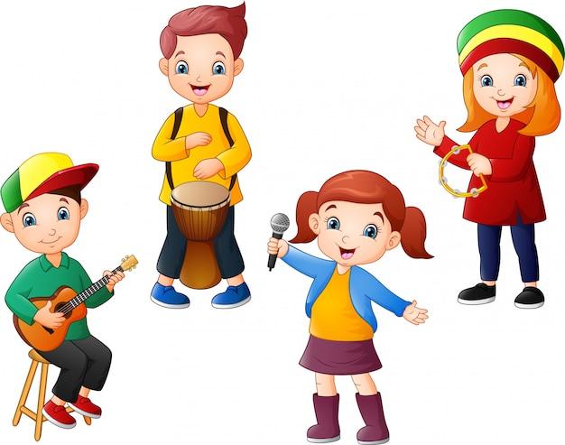 Cartoon Dzieci Grają Razem Muzykę Premium Wektorów