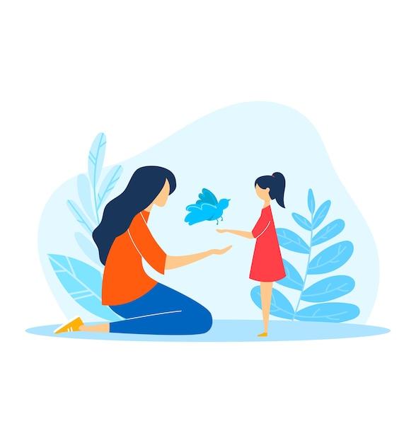 Cartoon Dzieciaki W Szczęśliwą Rodzinę, Ilustracja. Postać Kobiety Trzymać Zwierzę Dla Córki Dzieci, Na Białym Tle. Premium Wektorów