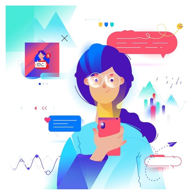 Cartoon dziewczyna komunikuje się przez telefon w komunikator Premium Wektorów