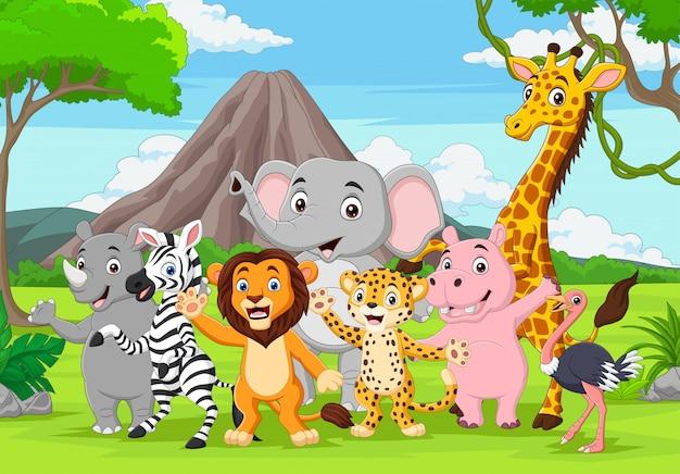 Cartoon Dzikich Zwierząt W Dżungli Premium Wektorów