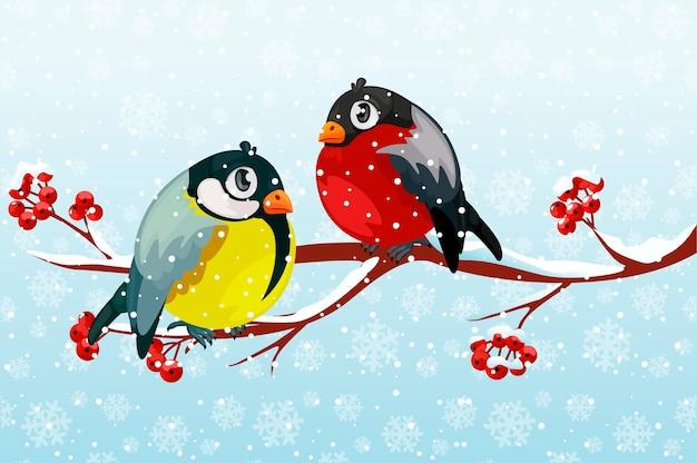 Cartoon Gil I Ptak Sikora Na Gałęzi Rowan Tree Pod Opadami śniegu. Premium Wektorów