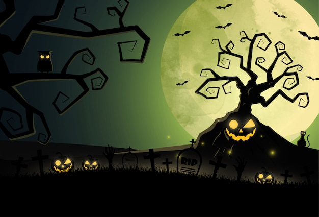 Cartoon halloween z cmentarza i domu Premium Wektorów