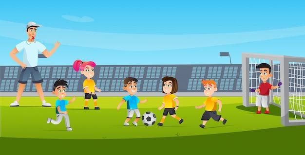 Cartoon Kid Zagraj W Sędziego Futbolowego, Dmuchając W Gwizdek Premium Wektorów