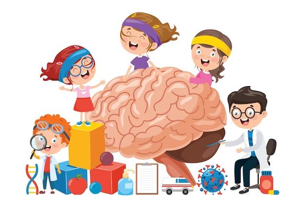 Cartoon Koncepcja Ludzkiego Mózgu Premium Wektorów