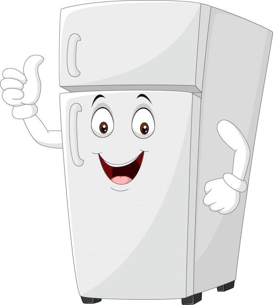 Cartoon Lodówka Maskotka Podając Kciuki Do Góry Premium Wektorów
