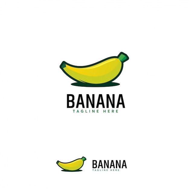 Cartoon logo owoców bananów, ikona symbolu logo owoców bananów Premium Wektorów