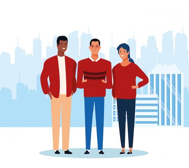 Cartoon mężczyzn i kobiety stojącej Premium Wektorów