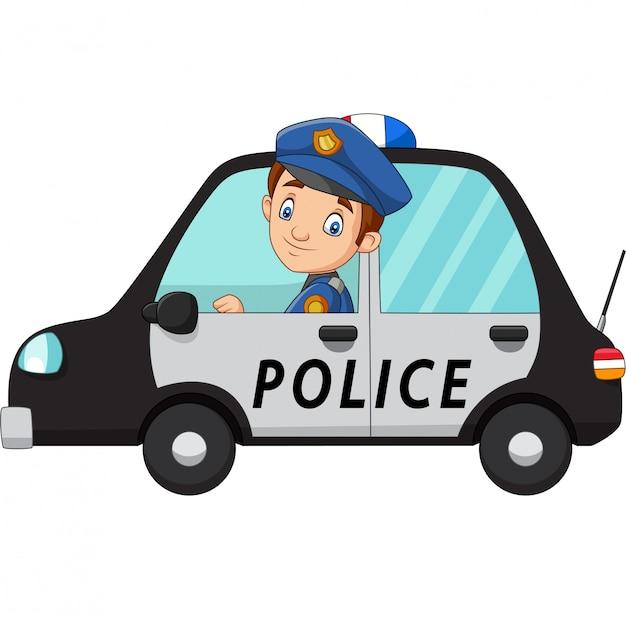 Cartoon Oficer Policji Kierowca Samochodu Premium Wektorów