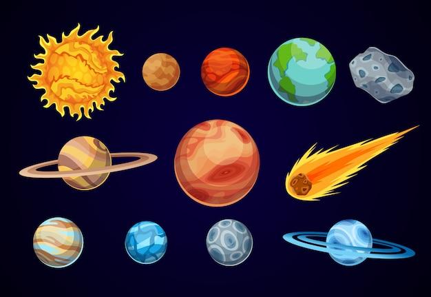 Cartoon Planet Układu Słonecznego. Obserwatorium Astronomiczne Mała Planeta. Przestrzeń Galaktyki Astronomicznej. Słońce Merkury Wenus Ziemia Mars Jowisz Saturn Uran Neptuna Kometa Asteroida Premium Wektorów