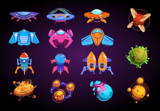 Cartoon Planety I Statki Kosmiczne. Fantastyczne Rakiety Ufo I żywe Futurystyczne Planety. Zestaw Do Gry Space War Premium Wektorów