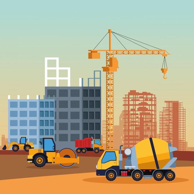Cartoon pojazdów budowlanych Premium Wektorów