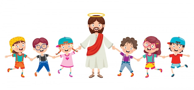 Cartoon Rysunek Jezusa Chrystusa Premium Wektorów