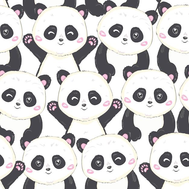 Cartoon seamless panda pattern Premium Wektorów