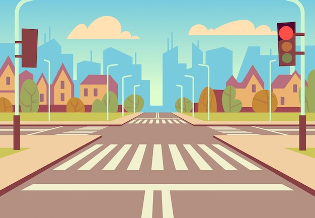 Cartoon skrzyżowanie miasta z sygnalizacją świetlną, chodnikiem, przejściem dla pieszych i krajobrazem miejskim. puste drogi dla samochodowego ruchu drogowego wektoru ilustraci Premium Wektorów