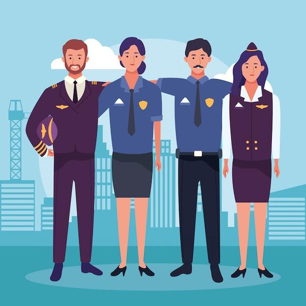 Cartoon Stewardesa I Pilot Z Policji Mężczyzny I Kobiety Premium Wektorów