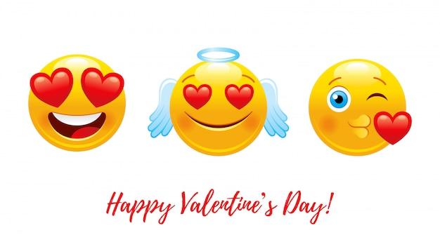 Cartoon Szczęśliwych Walentynek Z Emoji Miłości Serca. Premium Wektorów