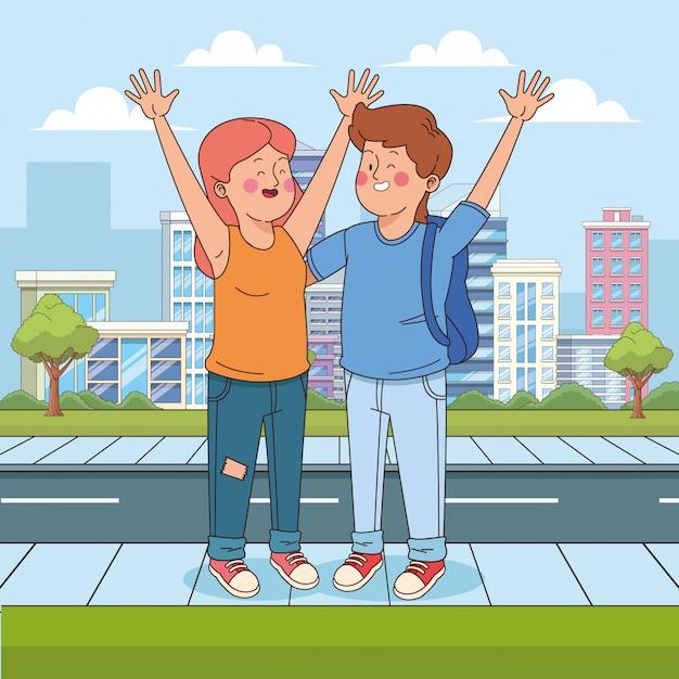 Cartoon teen chłopiec i dziewczynka macha na ulicy Premium Wektorów