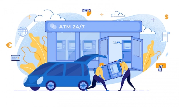 Cartoon Thief Carry Atm To Car Bank Terminal Theft Premium Wektorów