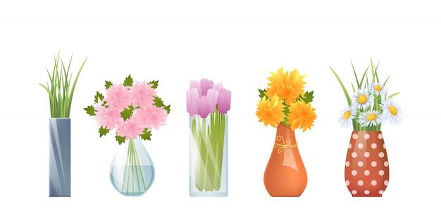 Cartoon Wazony I Kwiaty Premium Wektorów