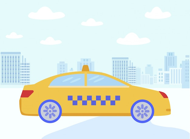 Cartoon yellow taxi cab driving flat city street Premium Wektorów