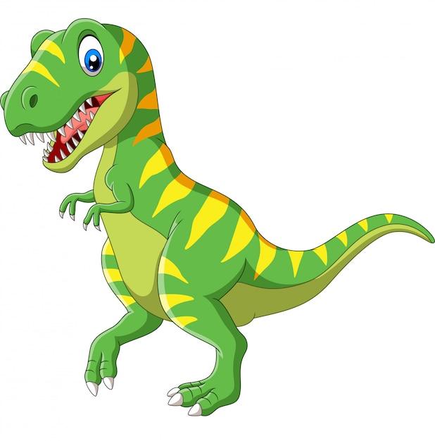 Cartoon Zielony Dinozaur Premium Wektorów