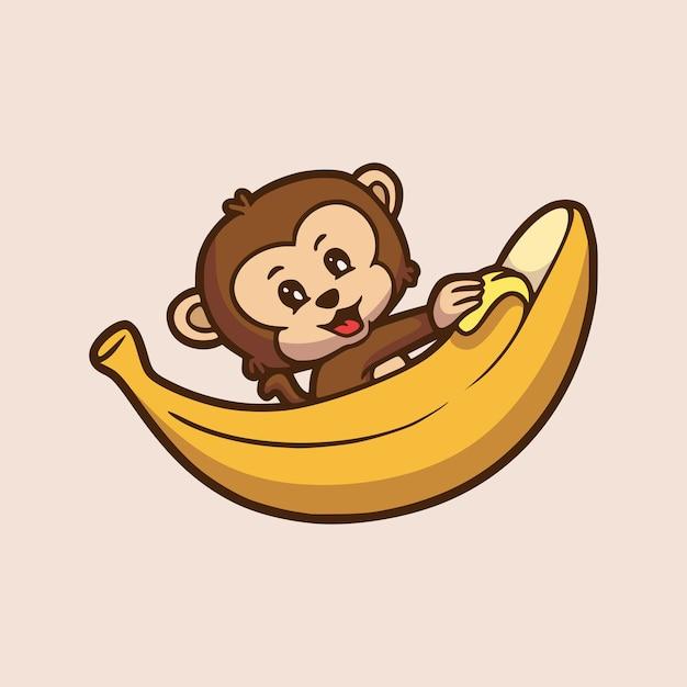 Cartoon Zwierząt Projekt Małpa Obieranie Banana Słodkie Logo Maskotki Premium Wektorów