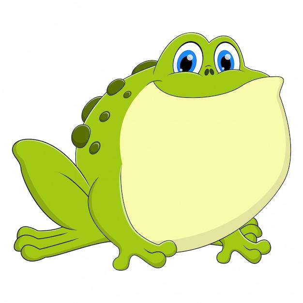 Cartoon Zwierząt żaba Siedzi I Uśmiecha Się Premium Wektorów