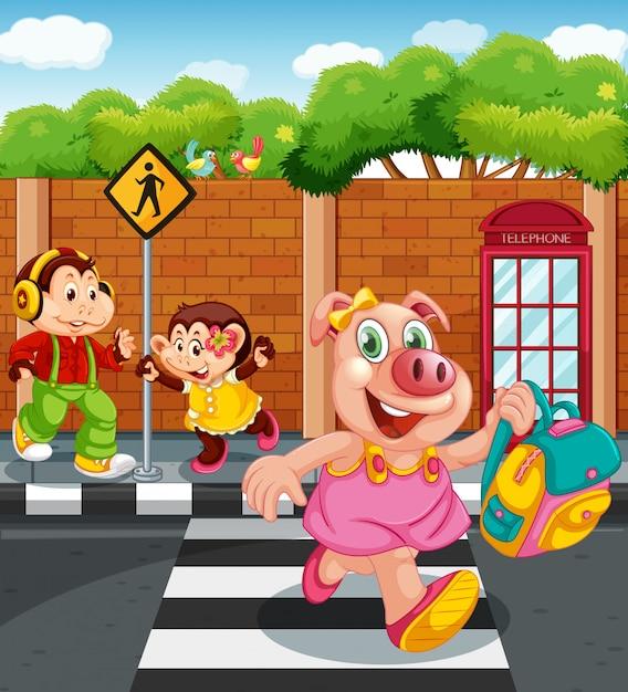 Cartoon zwierząt znaków idzie do szkoły Darmowych Wektorów