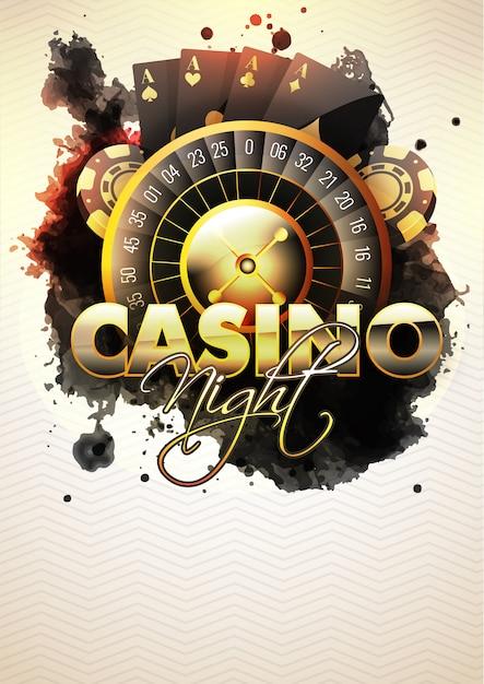 Casino Night Flyer Z Kołem Ruletki. Premium Wektorów