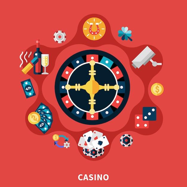 Casino roulette icons round composition Darmowych Wektorów