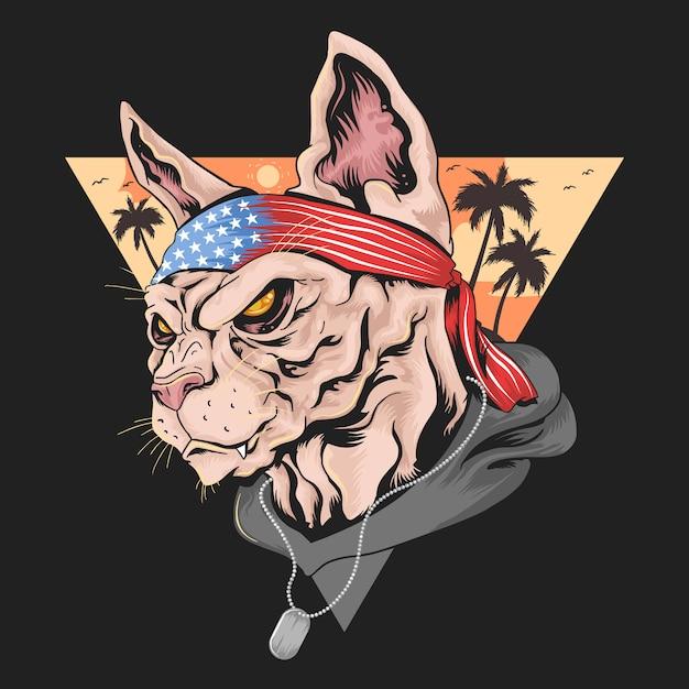 Cat america usa flag Premium Wektorów