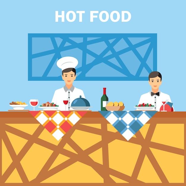 Catering usługi płaskie wektor ilustracja kolor Premium Wektorów