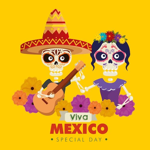 Catrina i szkielet mężczyzna w kapeluszu z gitarą i kwiatami Darmowych Wektorów