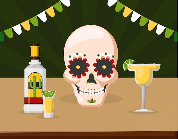 Catrina Skull Z Tequilą, Cytryną I Margaritą Koktajlową, Meksyk Darmowych Wektorów