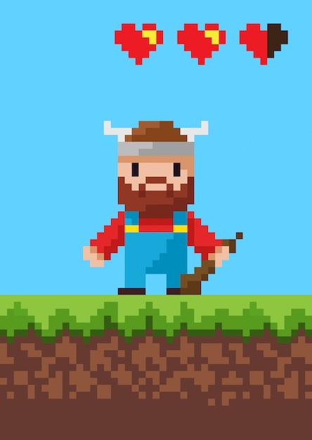 Cavalier character with steel, pixel game vector Premium Wektorów