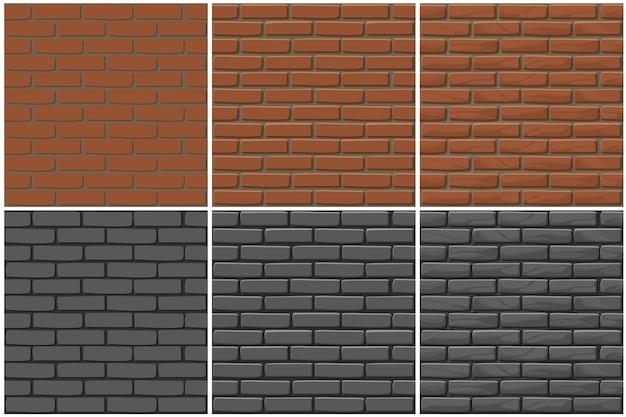 Cegła ściana Tekstury Bez Szwu, Rysunek 3 Krok. Ilustracja Kamienie ściany. Wzór Premium Wektorów