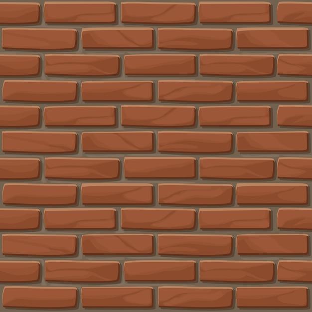 Ceglana ściana Tekstura Bez Szwu. Ilustracja ściana Kamienie W Kolorze Czerwonym. Wzór Premium Wektorów