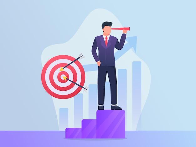 Cel Biznesowy Z Biznesmenów Celami Cel I Wizjonerski Pojęcie Premium Wektorów