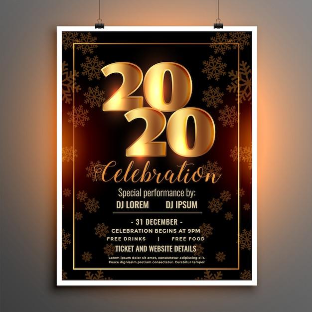 Celebracja szablon ulotki lub plakatu na szczęśliwego nowego roku Darmowych Wektorów