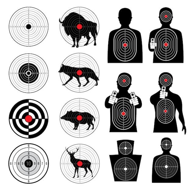 Celowanie w strzelanie z pistoletu i zbieranie sylwetki celu Premium Wektorów