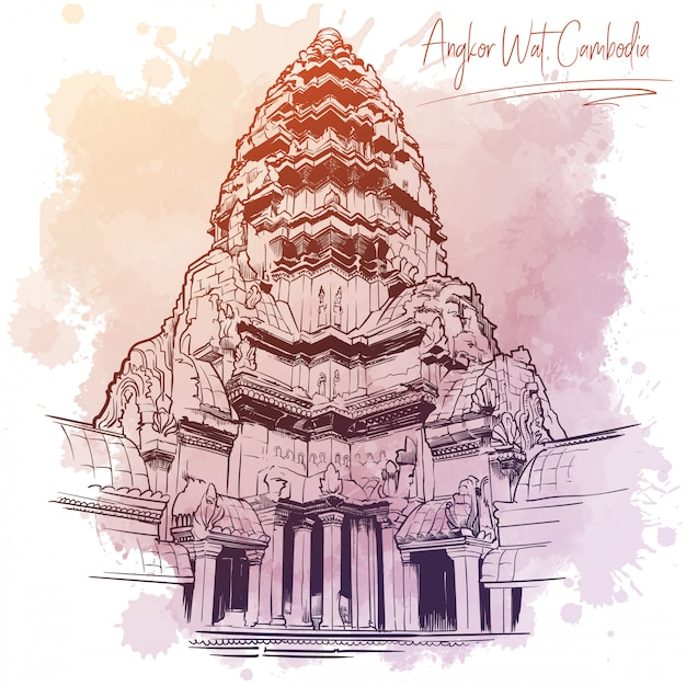 Centralny Element świątyni Angkor Wat. Rysunek Liniowy Na Białym Tle Na Miejscu Akwarela Grunge Premium Wektorów