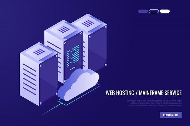 Centrum danych w chmurze z serwerami hostingowymi. technologia komputerowa, sieć i baza danych Darmowych Wektorów