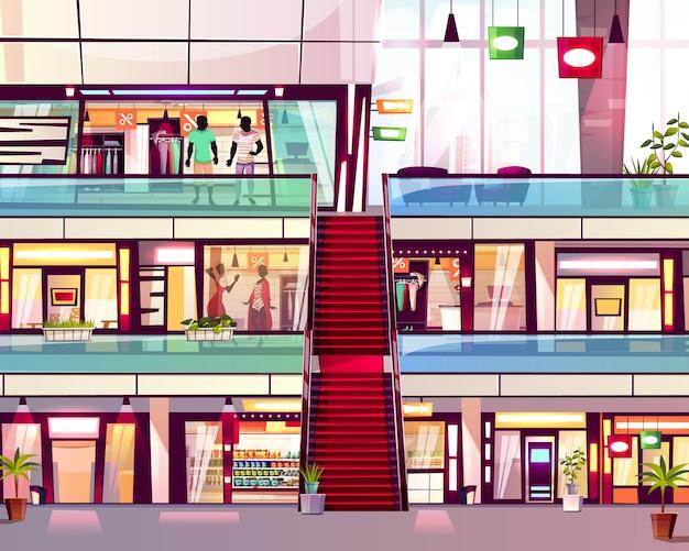 Centrum handlowe robi zakupy z eskalatoru schody ilustracją. nowoczesne, wielopiętrowe centrum handlu podłogami Darmowych Wektorów