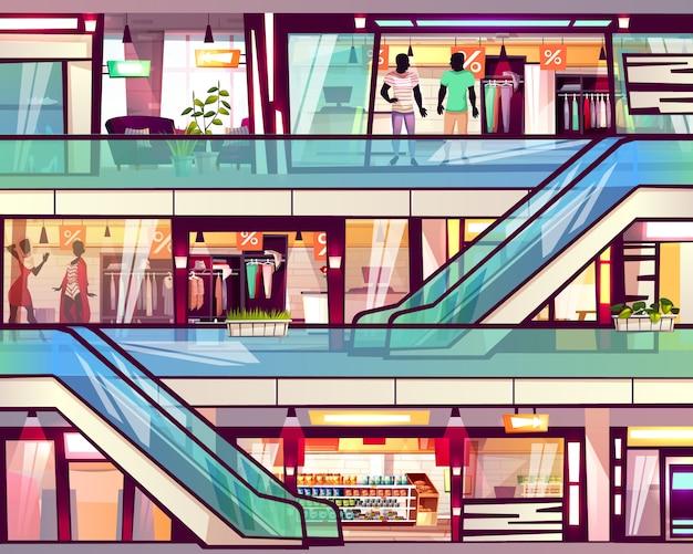 Centrum handlowe sklep z eskalatoru schody ilustracją. Darmowych Wektorów
