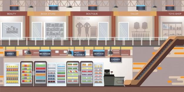 Centrum Handlowe Z Nowoczesnym Sklepem I Supermarketem. Premium Wektorów