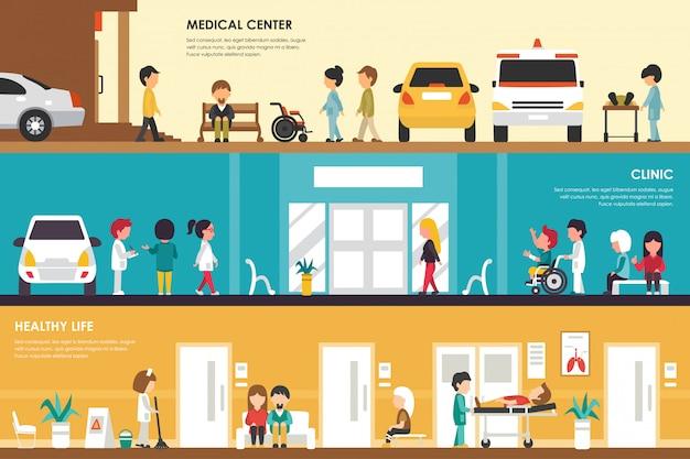 Centrum Medyczne, Kliniki I Zdrowego życia Płaski Szpital Koncepcja Wnętrza Web Wektor Illustra Premium Wektorów